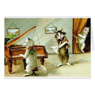 Högläsningen och operan för vintagekattpiano hälsningskort