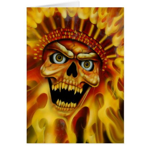 Högsta födelsedagkort för flammande skalle kort