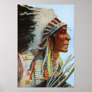 Högsta indian för vargRobeBlackfeet Poster