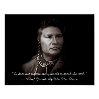 Högsta Joseph av den Nez Perce indianen Poster