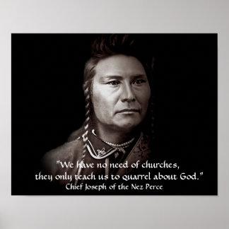 Högsta Joseph, den Nez Perce indianvisheten Poster