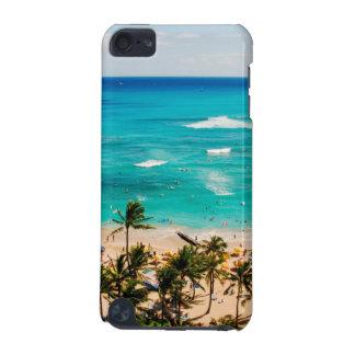Högstämt beskåda av den Waikiki strandplatsen,