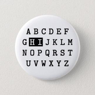 Högt alfabet standard knapp rund 5.7 cm