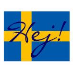 Högt i svenska Hej! Svenskflaggavykort Vykort