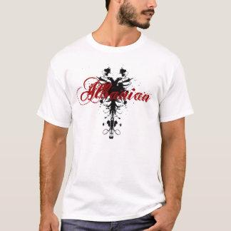 Högvärdig albansk örn på svart med röd text t shirts