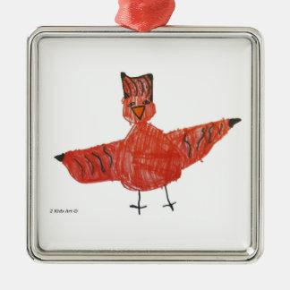 Högvärdig prydnad för röd fågel julgransprydnad metall