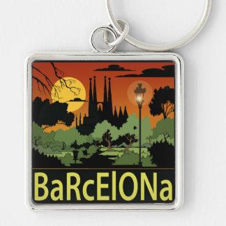 """Högvärdiga Barcelona (2,00"""") kvadrerar Keychain Fyrkantig Silverfärgad Nyckelring"""