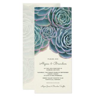 Högväxt bröllopinbjudan för bred suckulent gräns 10,2 x 23,5 cm inbjudningskort