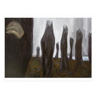Högväxt soldater (svartvit surrealism) vykort