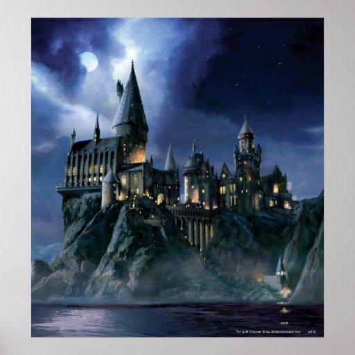 Hogwarts slott på natten affisch