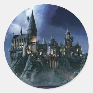 Hogwarts slott på natten rund klistermärke