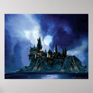 Hogwarts vid månsken affisch