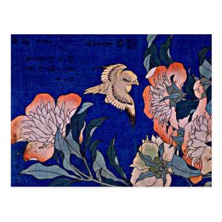 Hokusai: Kanariefågel och pion Vykort