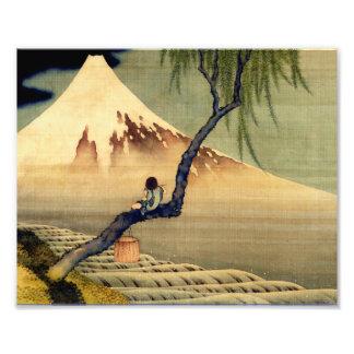 Hokusai pojke som beskådar Mount Fuji japanvintage Fototryck
