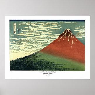 """Hokusais södra vind, klar himmel eller """"röda Fuji Poster"""