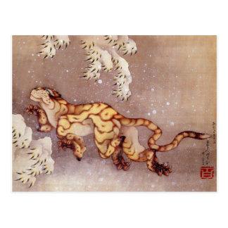 """Hokusais """"tiger vykort i för snö"""""""