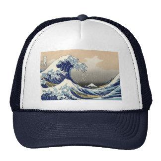 """Hokusais """"vinkar underbaren av den Kanagawa"""" hatte Keps"""