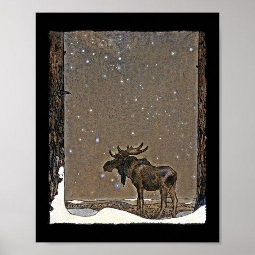 Holilday älg i snö affischer