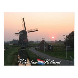 Holland för Volendam solnedgångkvarn vykort