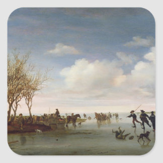 Holländare landskap med skater fyrkantigt klistermärke