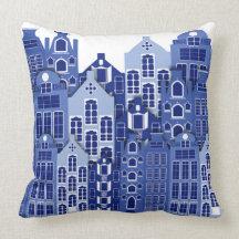 Holländsk Amsterdam blått inhyser dekorativ kudde