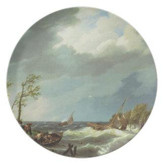 Holländsk fiskeskyttel som fångas på en Lee kust m Tallrik