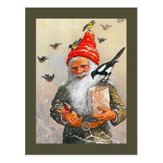 Holländsk Gnome som matar fåglarna Vykort
