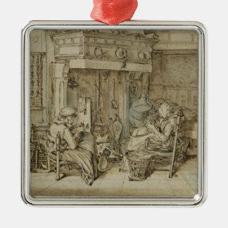 Holländsk insida, 1617 silverfärgad fyrkantigt julgransprydnad