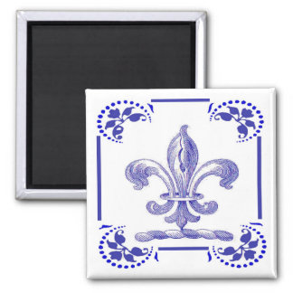Holländska blått Fleur De Lis Magnet