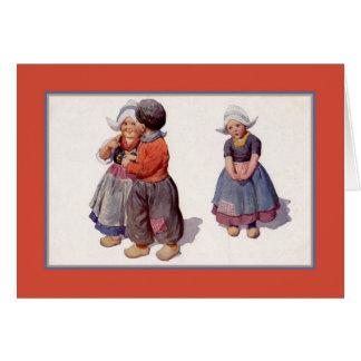 Holländska gulliga småbarn för vintage1900s hälsningskort
