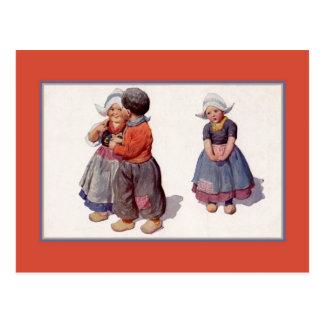 Holländska gulliga småbarn för vintage1900s vykort