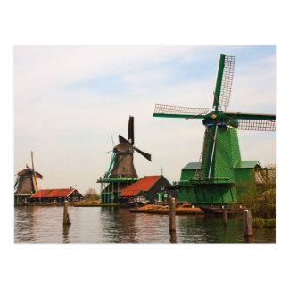 Holländska Windmills, Zaanse Schans. Vykort