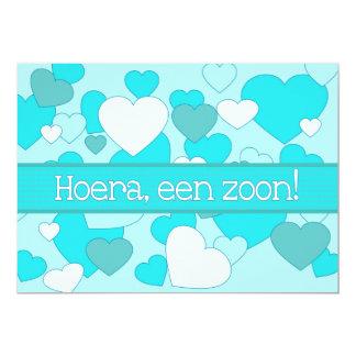 Holländskt pojkefödelsemeddelande 12,7 x 17,8 cm inbjudningskort