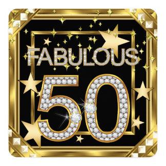 Hollywood för sagolik Retro glamour 50 guld- ram 2 Fyrkantigt 13,3 Cm Inbjudningskort