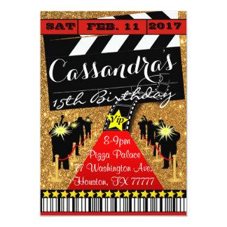 Hollywood party, Hollywood födelsedaginbjudan 12,7 X 17,8 Cm Inbjudningskort
