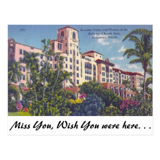 Hollywood strandhotell, Hollywood, Florida Vykort