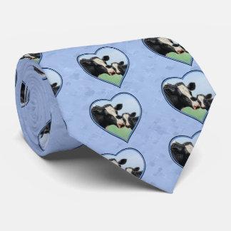 Holstein ko och gullig kalvblåtthjärta slips
