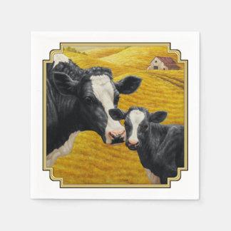 Holstein kor och gammal Wood ladugård Pappersservetter