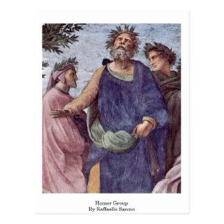 Homer grupp av Raffaello Sanzio Vykort