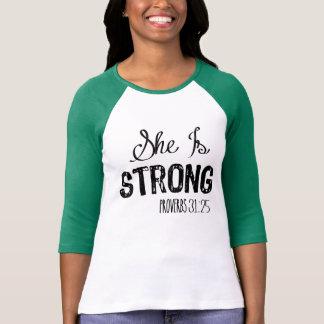 Hon är starka kvinna Motivational kristna skjorta Tröjor