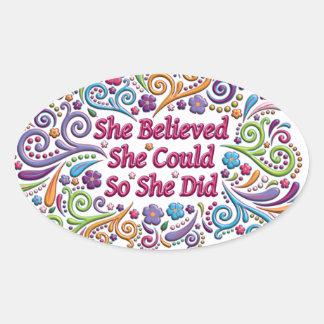 Hon trodde henne kunde, så hon gjorde ovalt klistermärke