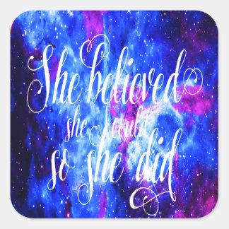 Hon trodde i älskare dröm fyrkantigt klistermärke