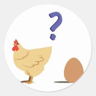 Höna & ägg runt klistermärke