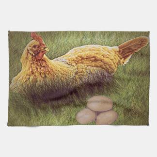 Höna och ägg, på en kökshandduk