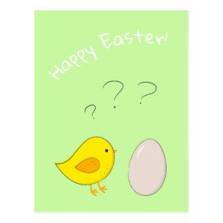 Hönan eller den gulliga påsktecknaden för ägg vykort