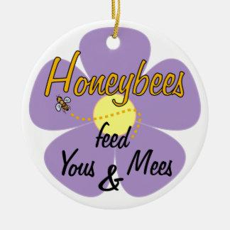 Honeybees matar den Yous & (Mauve) Mees - Rund Julgransprydnad I Keramik