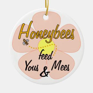 Honeybees matar Yous & Mees (rosan) - prydnad Rund Julgransprydnad I Keramik