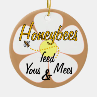 Honeybees matar Yous & Mees (vit) - prydnad Rund Julgransprydnad I Keramik