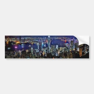 Hong Kong på nattbildekalet Bildekal
