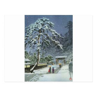 Honmonji tempel i snö - Kawase Hasui 川瀬巴水 Vykort
